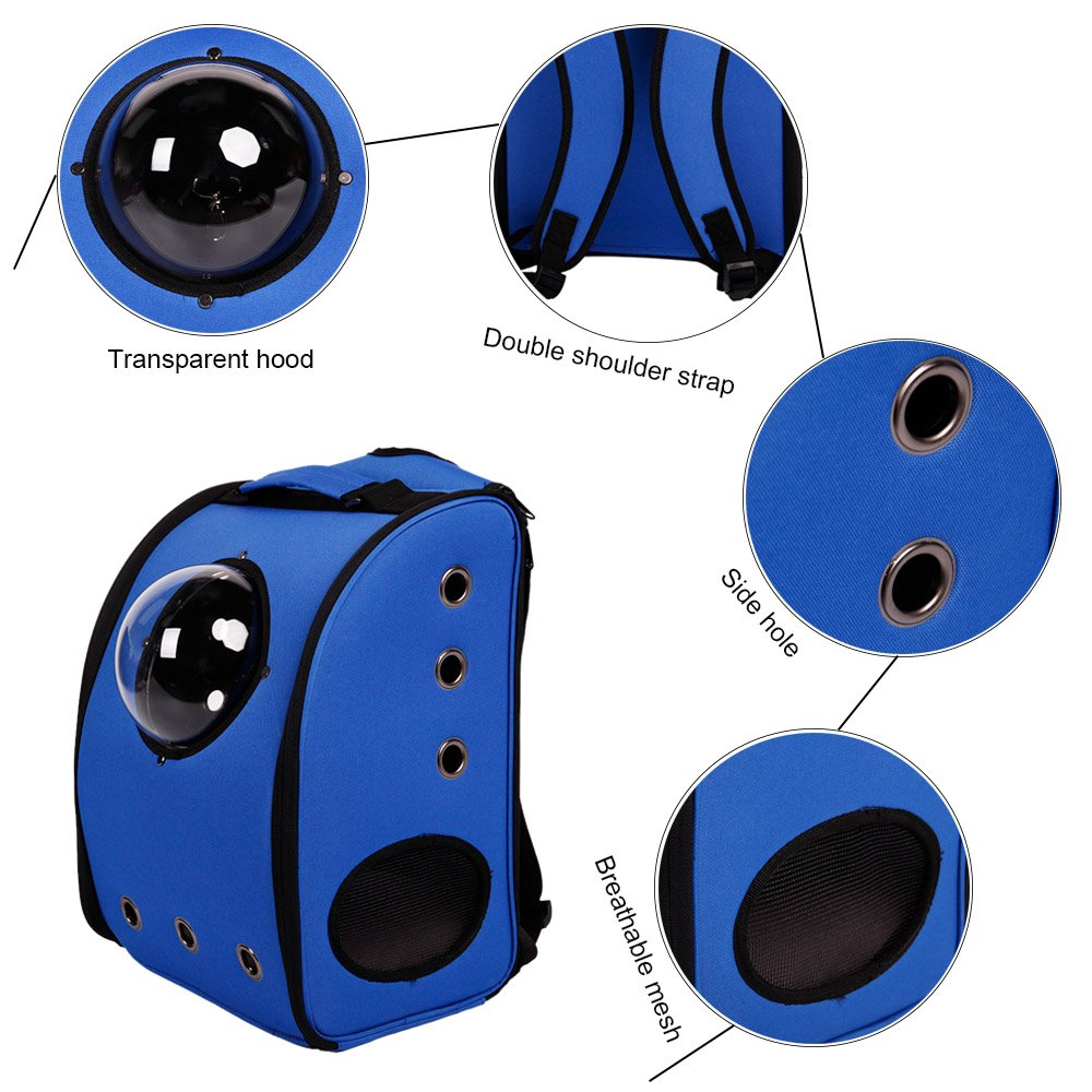 BOSON Pet Carrier Backpack Traveler Bubble Breathable Outdoor Travel Bag for Cat Dog Puppy Kitten (Blue)
