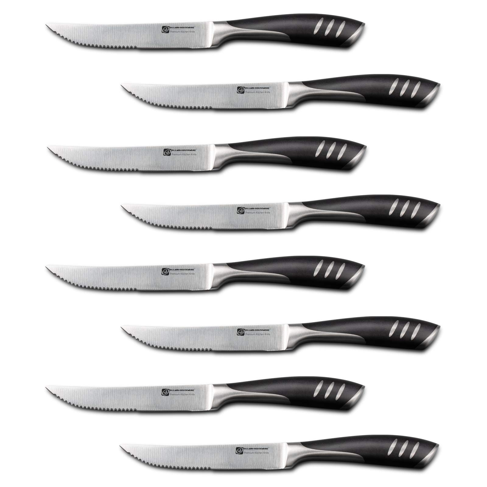 Premium 8-Piece German High Carbon Stainless Steel Steak Knife Set, Double Forged Full Tang Kitchen Dinner Steak Knives by ALLWIN-HOUSEWARE W