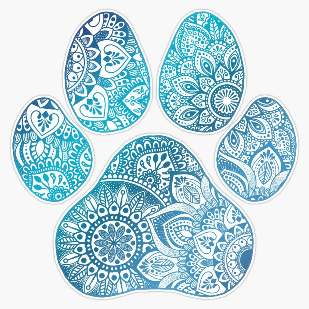 Mandala Paw Print Sticker Vinyl Waterproof Sticker Decal Car Laptop Wall Window Bumper Sticker 5