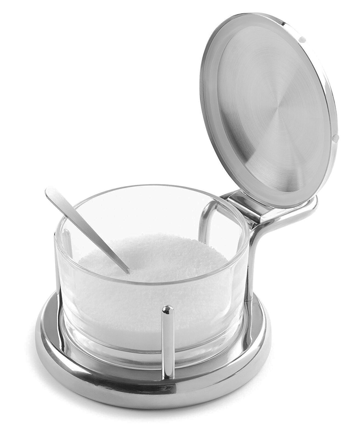Modern Innovations Glass Salt Server with Lid and Spoon Stainless Steel 18/8 Serving Bowl Great for Storing Salt, Sugar, Honey, Cheese, Condiments, Spices & Herbs