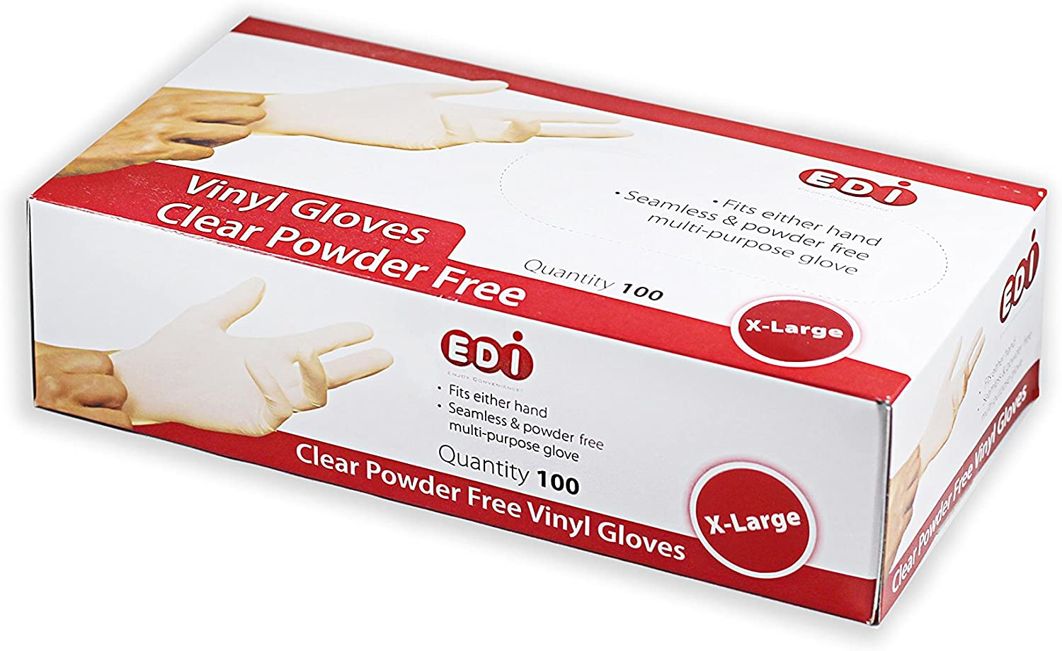 EDI Clear Powder Free Vinyl Glove,Disposable glove,Industrial Glove,Clear, Latex Free and Allergy Free, Plastic, Work, Food Service, Cleaning,100 gloves per box (1000, Extra Large)