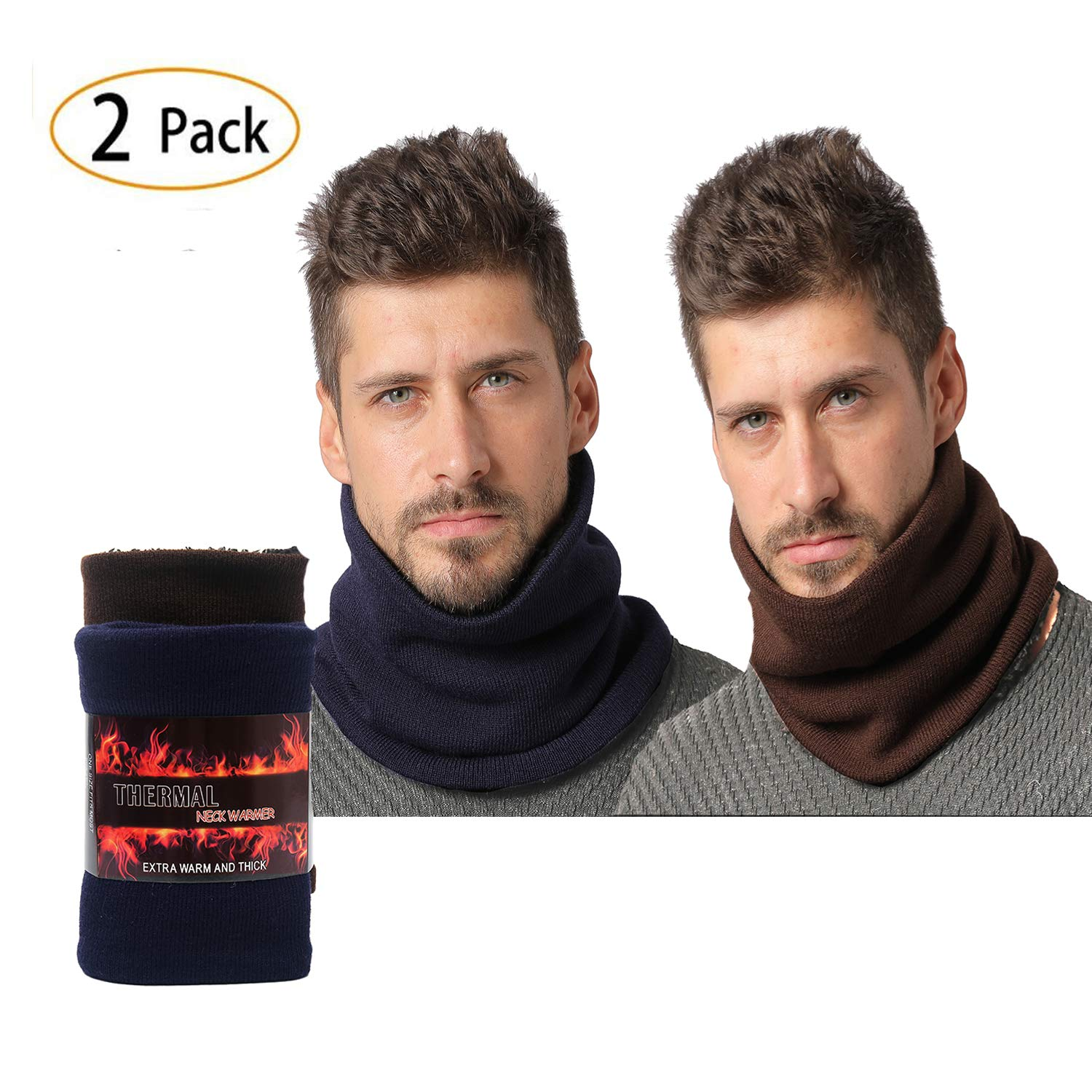 NovForth Neck Warmers Ribbed Cable Knit Winter Infinity Scarf Heat Trapping Thermal