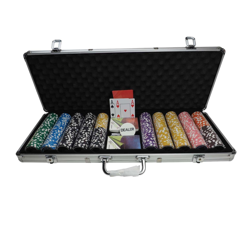 suplaya Pokerkoffer Pokerset hochwertig Sortierung selbst wä hlen 13g Clay Chips 4 Index Plastikkarten Marke (1000/0)