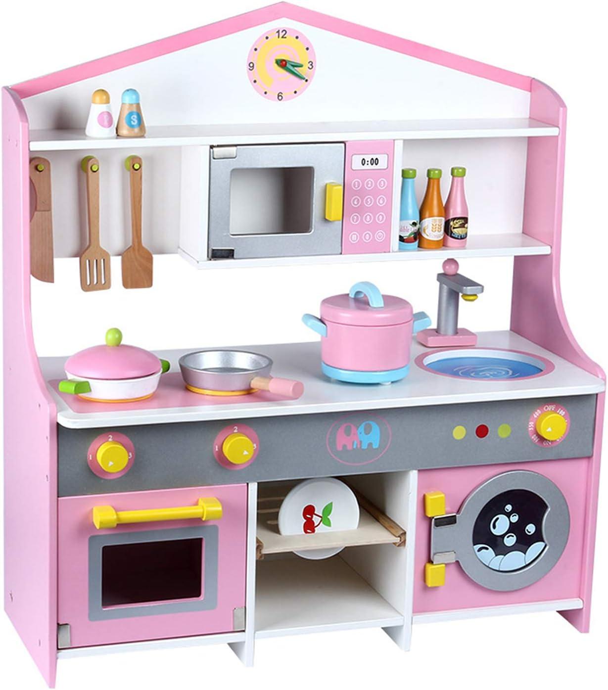 子供用シミュレーションキッチン玩具セット、木製知育玩具、洗濯機付き玩具、ロールプレイングゲーム