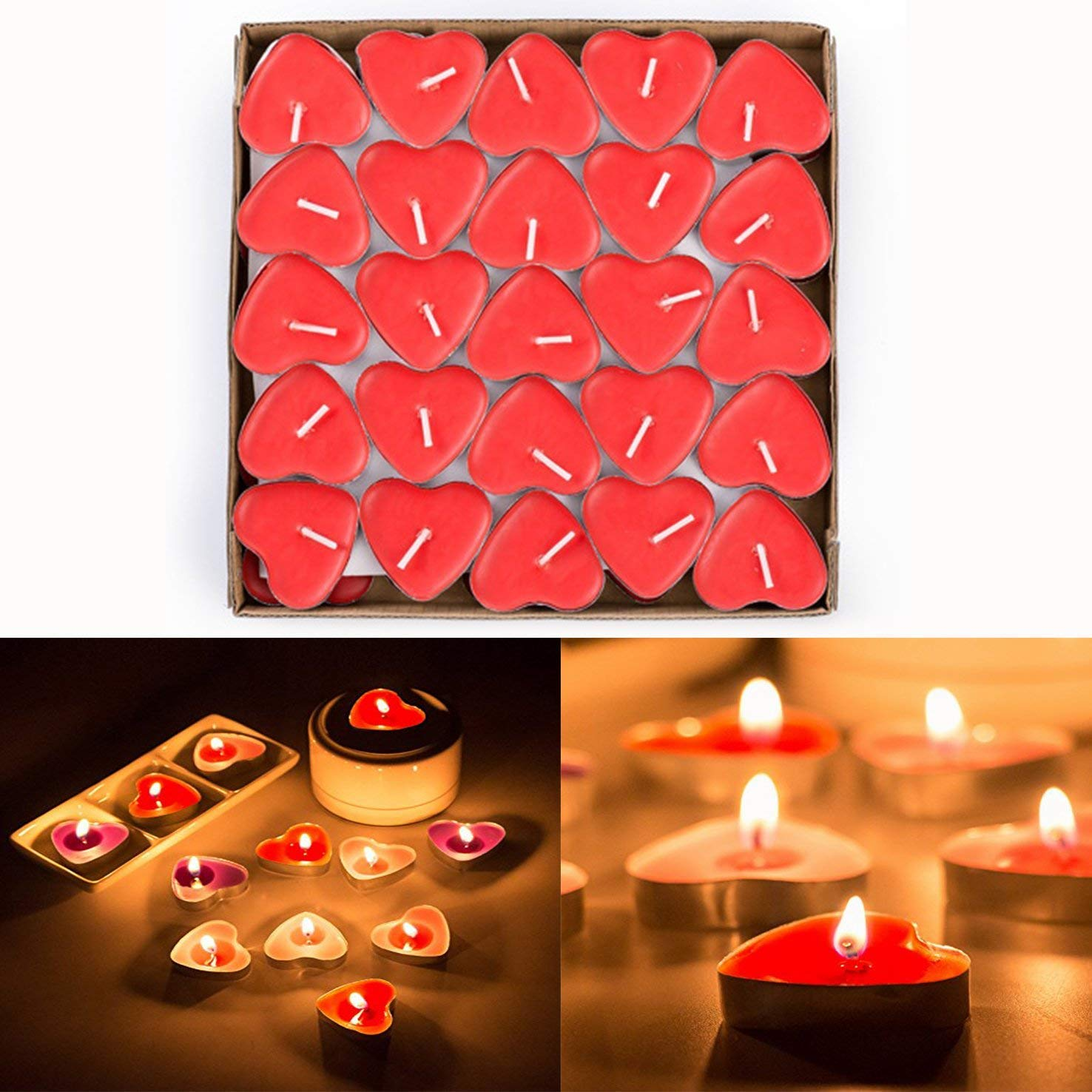 Tea Light Candles for Birthday Valentines Day Red Proposal Smokeless Tealights Candle Wedding Party JCY-US 50pcs Heart Shaped Candles Red Wedding Engagement