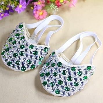 Calcifer Marca Nueva Vientre/Ballet Zapatos de Baile Disfraz Regalo Para Gran Fiesta Navidad, Silver+Light Green