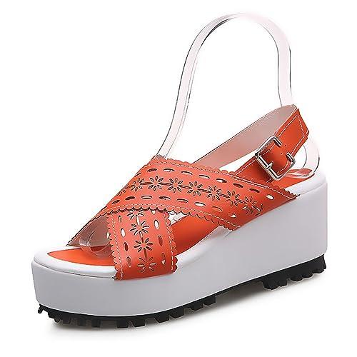 New-Loft Ankle Strap Ladies Sandals Retro Fretwork Platform Back Strap Zapatillas Mujer Casual Shoes