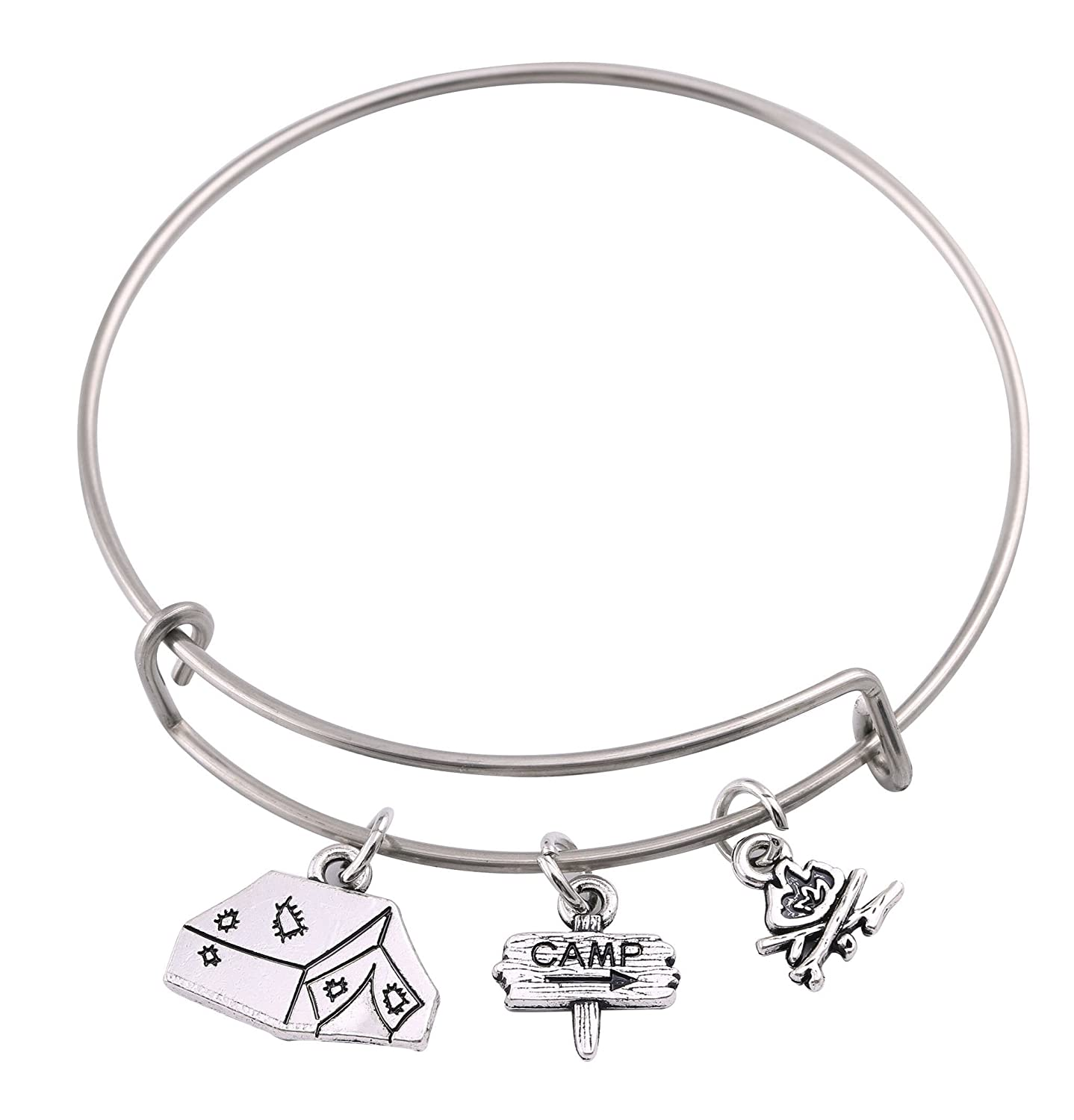 Lemegeton Camp DIY Wire Bangle Outdoor Bracelet with Guidepost Fire Tent Charms Jewelry for Women&Girls BiChuang