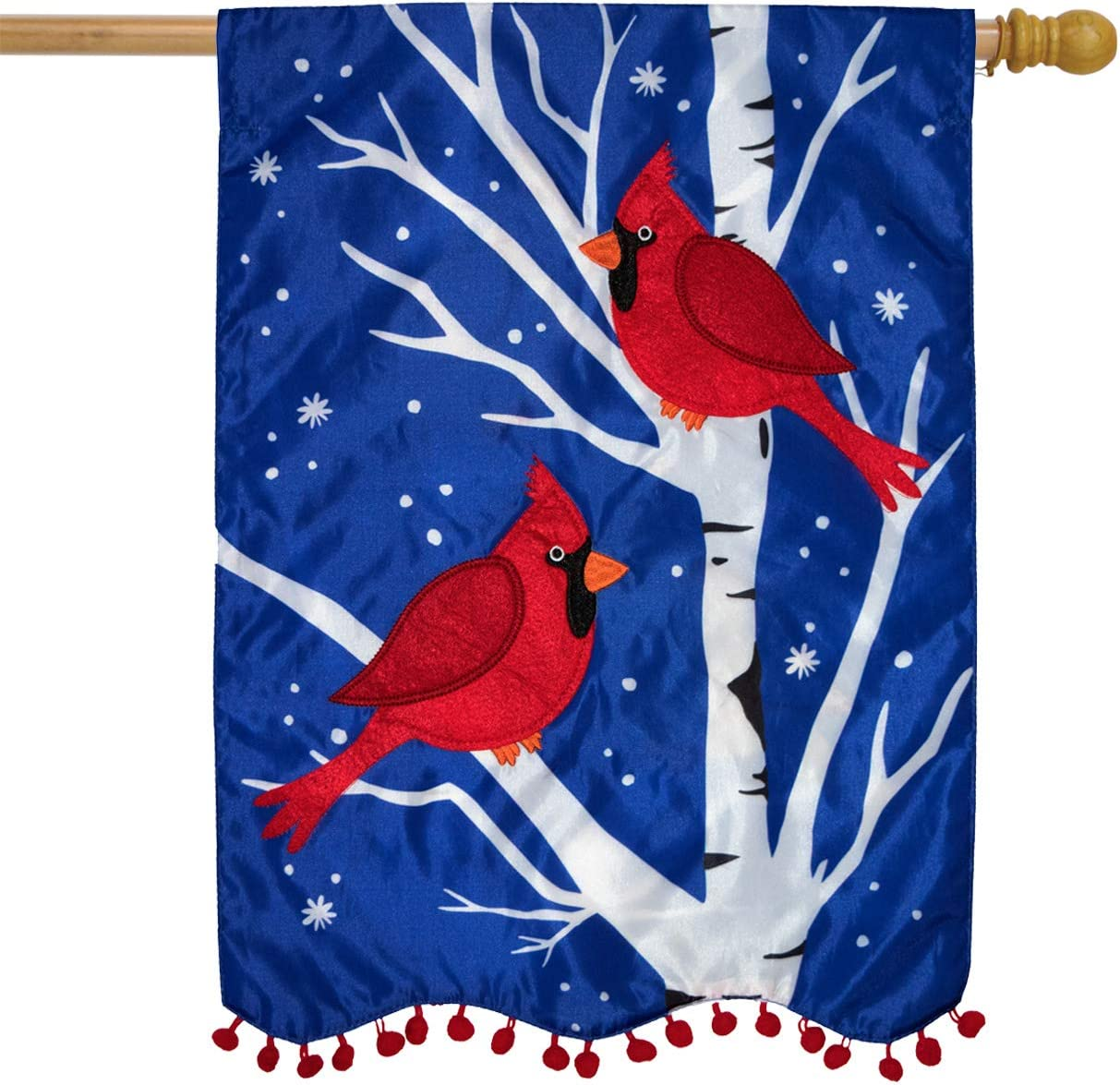 Briarwood Lane Winter Cardinals Applique House Flag Double Sided 28 X 40 Garden Outdoor