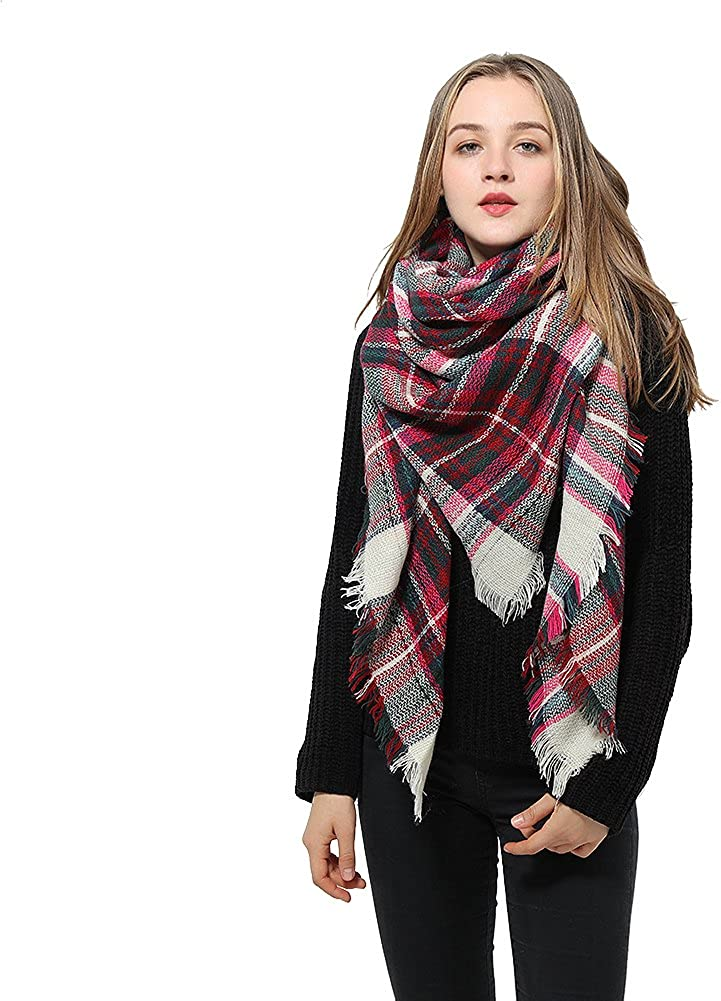 Women's Plaid Blanket Scarf...