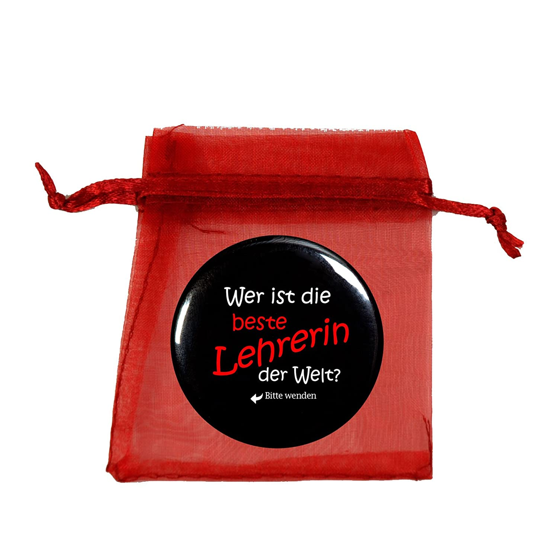 Taschenspiegel,Spiegelbutton Beste Lehrerin, rund 56mm Durchmesser handmade-in-nb SPIBU-ERGOTHERAP-ROT
