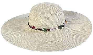 057920f101b83 Da. WA verano sombrero de paja playa sol sombrero de moda para mujeres niñas  beige