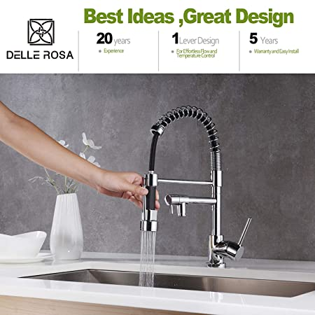 Sensational Delle Rosa Pull Out Kitchen Tap Polished Chrome Kitchen Sink Mixer Tap With Swivel Spoutspring Spray Single Lever Single Hole Home Interior And Landscaping Synyenasavecom