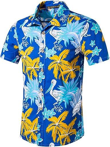 Sencillo Vida Camisa de Hombre Estampada De Manga Corta Verano 2019 Camisa Casual Hombres Camisas de Hombre Impresión Hawaiana Regular Fit Shirt Clásico Básico Botones: Amazon.es: Ropa y accesorios