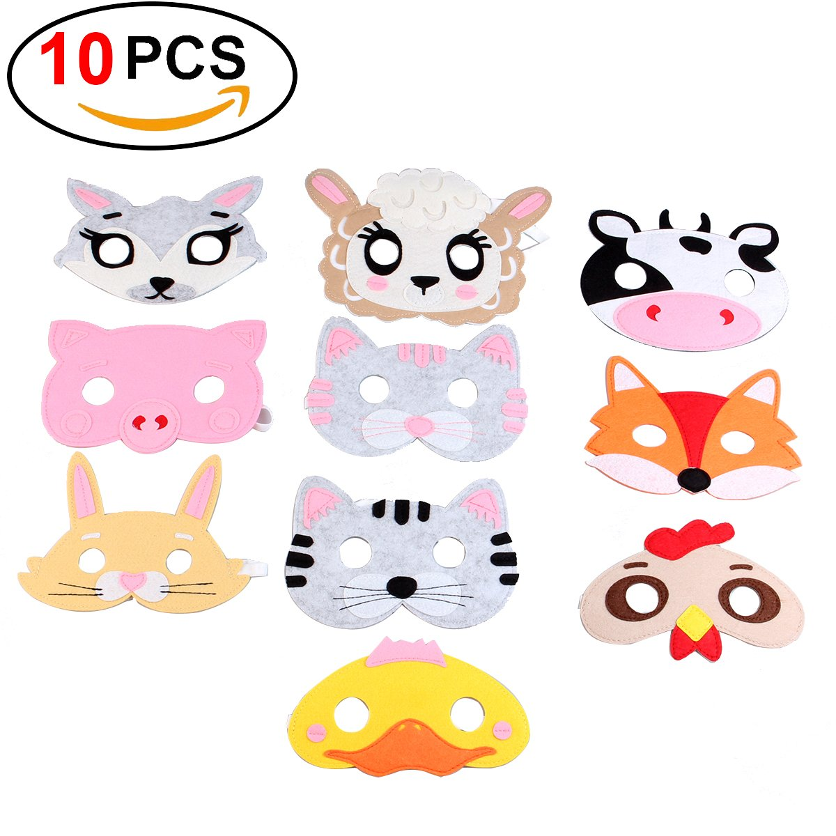 Yibaoo 10 Pieces Forest Friends Felt Animal Mask for Birthday Party Favors Dress-Up Cosplay,Party Supplies
