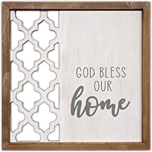 ViliVilicrafts Wood Home 12 x 12 Inch Modern Farmhouse Wall sign with Quotes God Bless Our Home, Cutout Hollow Wooden Framed Wall Sign, White Washed Wall Hanging Decor Plaque