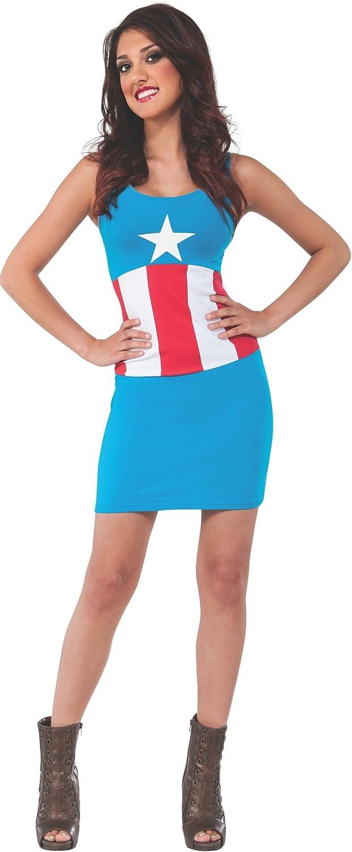 Vestido disfraz Capitán América Marvel classic para mujer: Amazon ...