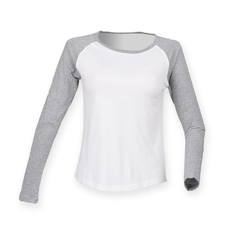 Camiseta de manga larga estilo b/éisbol para mujer Skinnifit