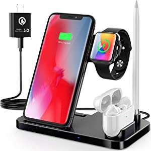 Qi-Certified Wireless Charging Station 4 in 1,Fast Wireless Charger Compatible with Apple iWatch Series 6 5 4 3 2, AirPods,Pencil, Charging Dock Station for iPhone 12/12pro/11, 11 Pro Max, XR, XS