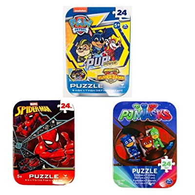 3 Jigsaw Puzzle Tins Boy Nick Jr Nickelodeon Marvel 24 Pieces Ages 5+ 6+ Spiderman, PJ Masks, Paw Patrol Cartoon Bundle Gift Set: Toys & Games