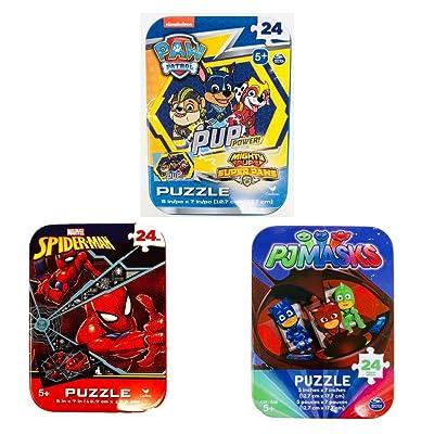 3 Jigsaw Puzzle Tins Boy Nick Jr Nickelodeon Marvel 24 Pieces Ages 5+ 6+ Spiderman, PJ Masks, Paw Patrol Cartoon Bundle Gift Set: Toys & Games [5Bkhe0900142]
