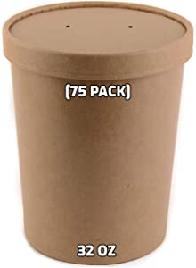 [75 Pack] 32 oz Disposable Kraft Paper Soup Containers with Vented LIDS - Quart Ice Cream Containers, Frozen Yogurt Cups, Restaurant, Microwavable, Take Out, Food Storage, Recyclable