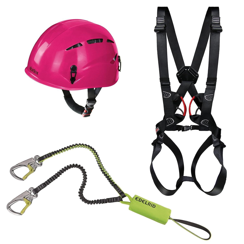 Alpidex Kletterhelm ARGALI + Alpidex Klettergurt Komplettgurt TAIPAN COMP + Edelrid Klettersteigset Cable Kit Lite 5.0 Farbe:ruby red Diverse