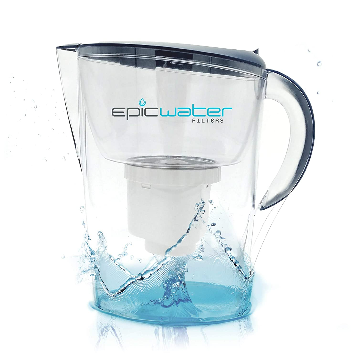 Epic Pure Water Filter Pitcher Navy Blue 35l 100 Nano 10in 5 Mikron Bpa Free Removes Fluoride Lead Chromium 6 Pfos Pfoa Heavy Metals Microorganisms
