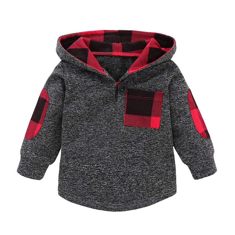 23ebb2cc8e Elecenty Felpe per bambino Pullover con cappuccio in tartan da neonato per  bebè 0.5~3 anni: Amazon.it: Abbigliamento