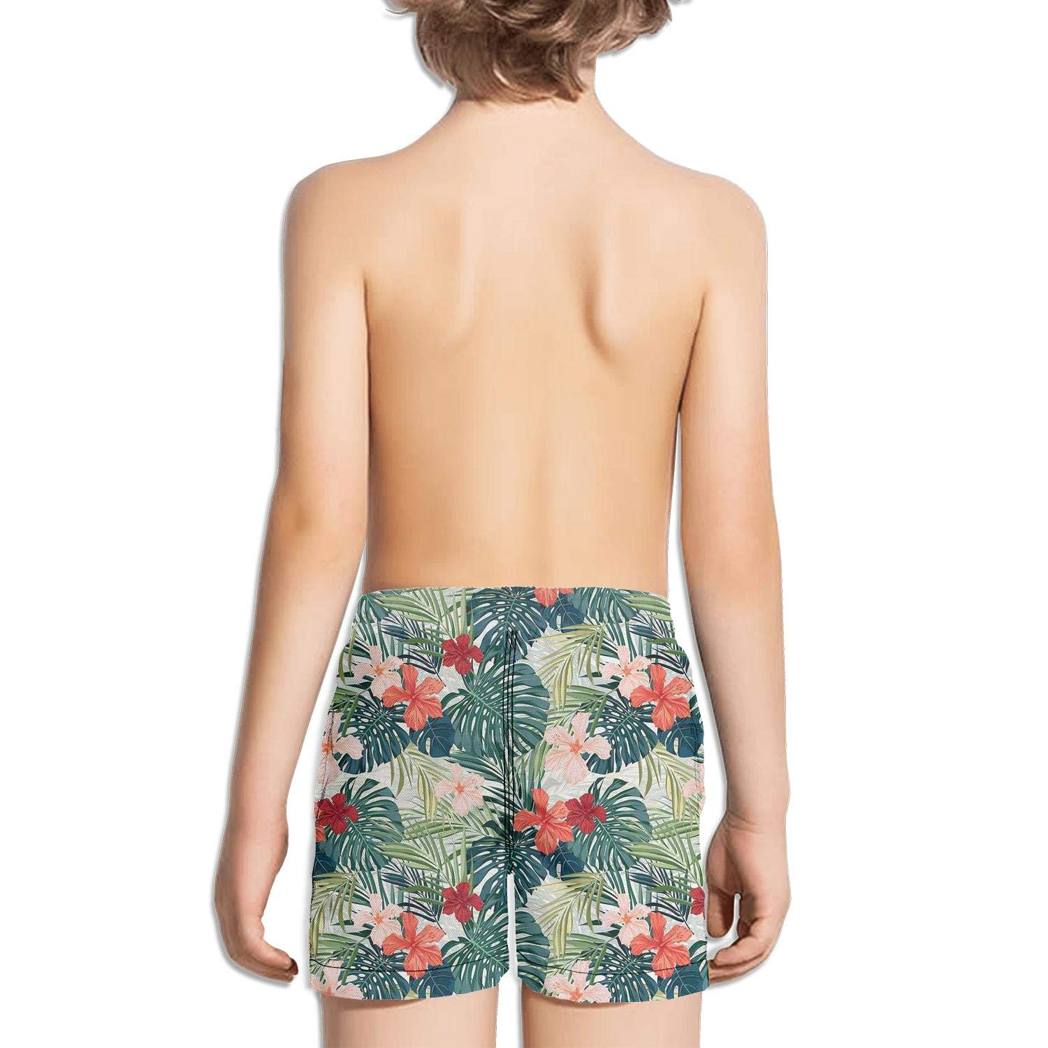 Etstk Summer Beach Holiday Themed Hibiscus Palm Leaves Kids Quick Dry Beach Shorts for Students