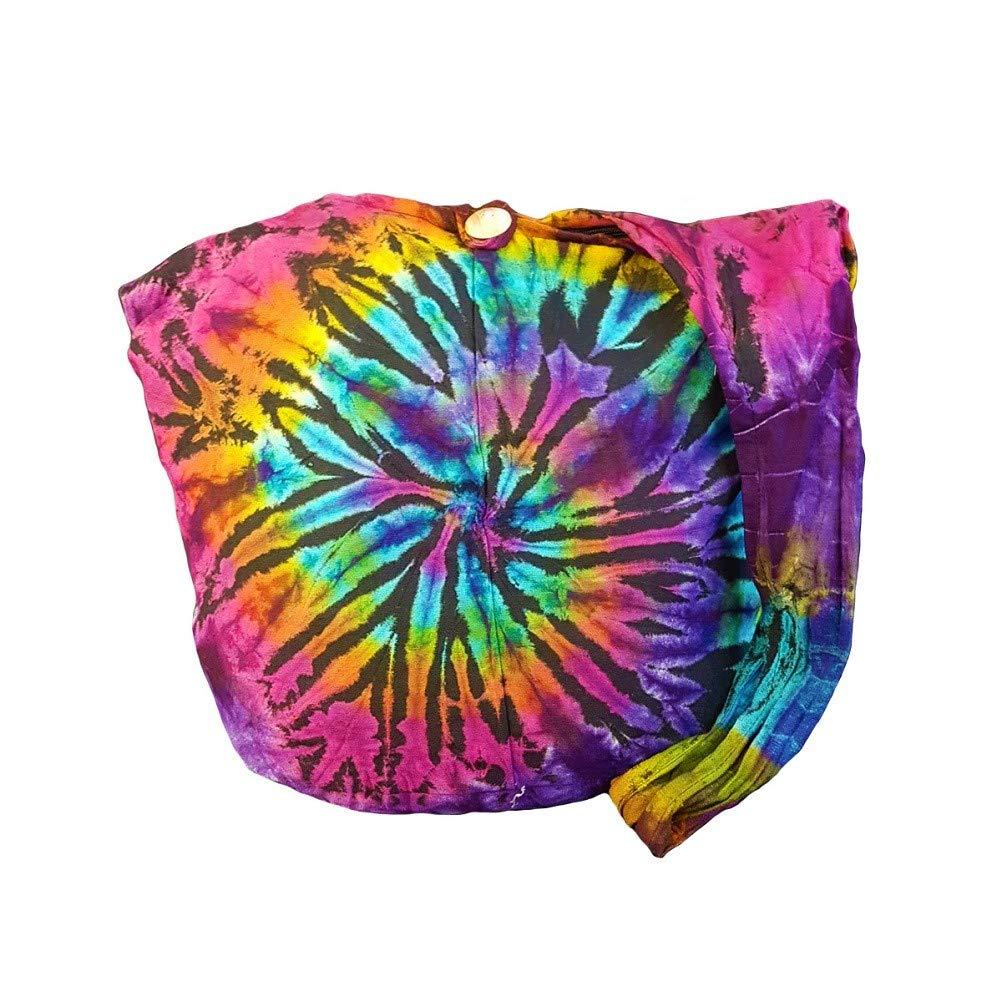 BTP! Tie Dye Sling Crossbody Shoulder Bag Purse Hippie Hobo Cotton Bohemian Colorful Firework (Random Spiral Dark Tone)