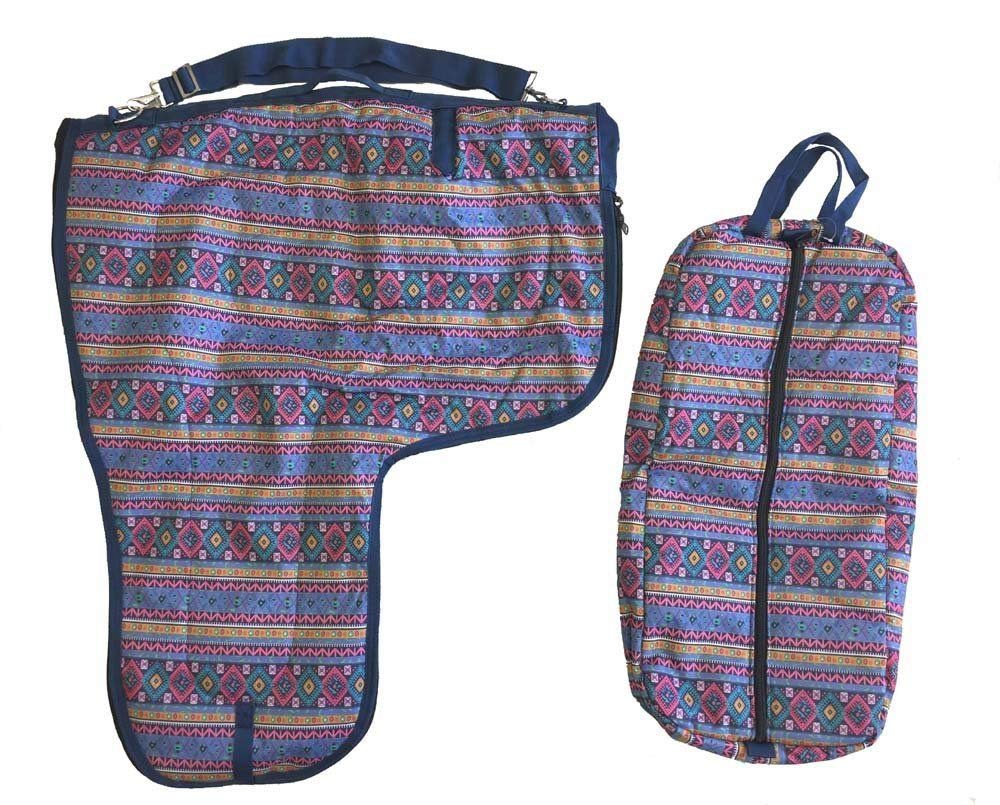 AJ Tack Wholesale Western Saddle Carrier Bridle Halter Bag Set 600D Waterproof Padded Aztec Print by AJ Tack Wholesale