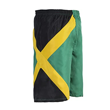 64279584d3 Image Unavailable. Image not available for. Color: Reggae Men's Cruise  Trunks Sports Jamaican Flag Bermuda Shorts Beach Pants
