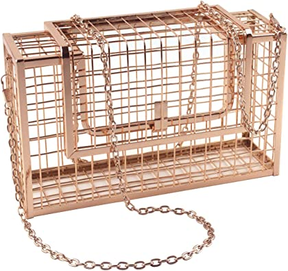 LETODE Womens Elegant Chain Cross-body Bag Metal Hollow Cage Clutch