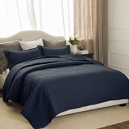 8578f9968fbda Quilted Bedspreads Set Navy Double Size - Basketweave Pattern  Hypoallergenic Lightweight Coverlets Set with 2 Pillow