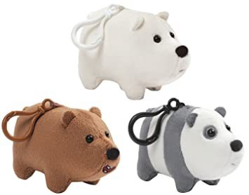 "Enesco We Bare Bears 2.5"" Plush Backpack Clips, Set of 3: Grizz,"