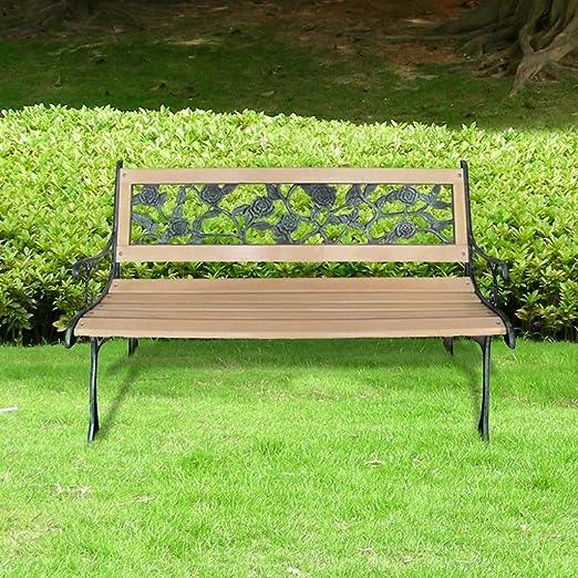 tidyard Banco de Jardín con Diseño Nostálgico,Respaldo con Estampado de Rosas,Estructura de Hierro Forjado,Apto para Uso en el Exterior Durante Todo el Año,122x51x73cm: Amazon.es: Hogar