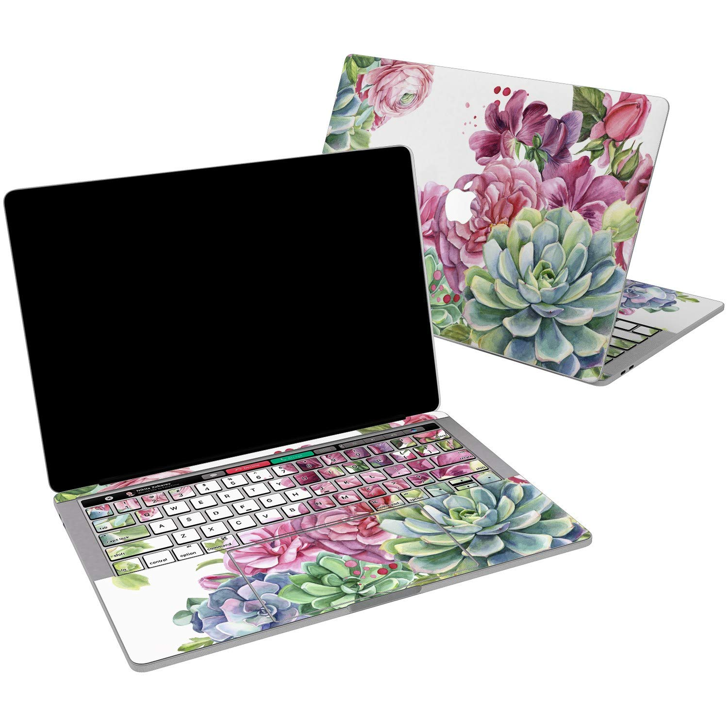 Lex Altern Vinyl Skin for MacBook Air 13 inch Mac Pro 15 Retina 12 11 2019 2018 2017 2016 2015 Succulent Flowers Bouquet Pink Cactus Plants Bloom Print Girl Touch Bar Cover Keyboard Decal Sticker