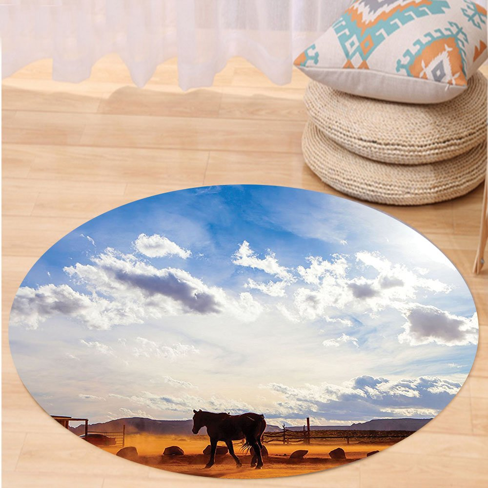 VROSELV Custom carpetWestern Decor Horse in Monument Valley Open Sky with Clouds in Arizona America Landscape for Bedroom Living Room Dorm Cream Blue Round 79 inches by VROSELV