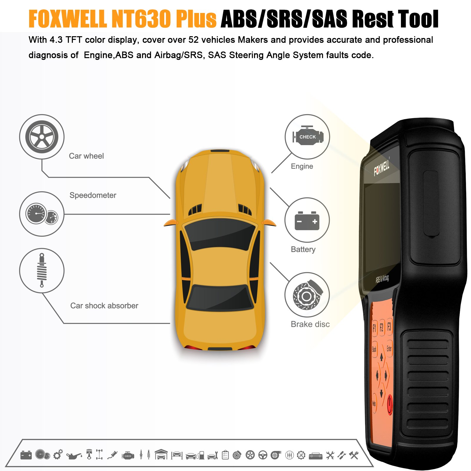 Car Scanners FOXWELL NT630 Plus Reset ABS/Airbag Crash Data with SAS  Calibration Diagnostic Scanner Turn Off Engine/ABS/SRS Warning Light Scan  Tool