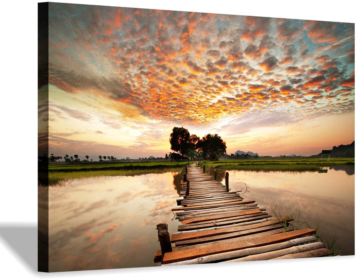 Amazon Com Lake Pier Canvas Wall Art Dock In Sunset Artwork Wooden Bridge Picture Boardwalk Painting For Office 36 X24 X1 Panel Posters Prints