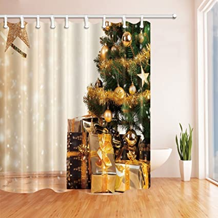 Amazon HiSoho Christmas Shower Curtains For Bathroom Balls