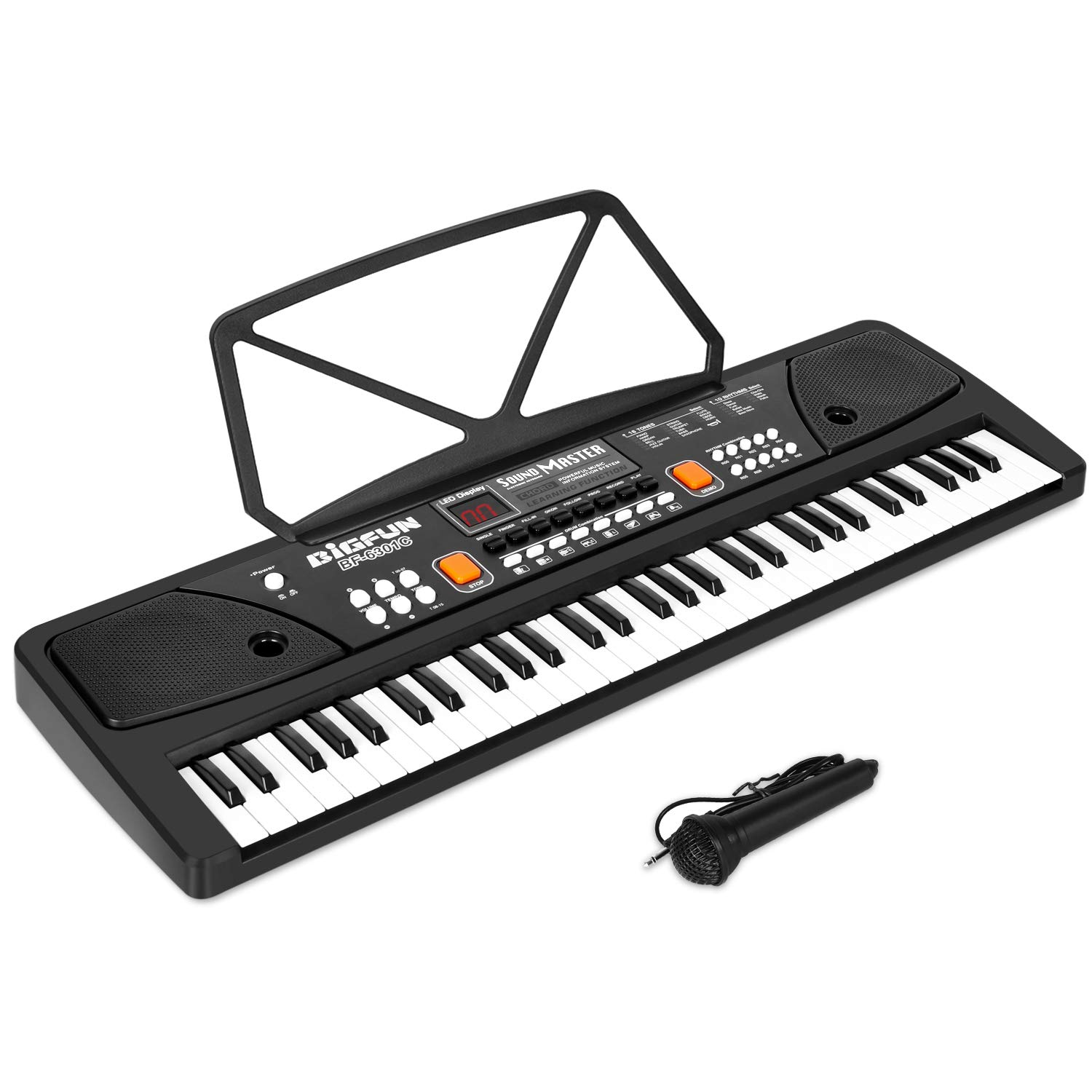 M SANMERSEN Kids Piano, 61 Keys LED Display Piano Keyboard with Microphone AUX-in Jack Musical Instrument with Music Book Bracket First Piano Gifts for 3-12 Years Old Boys Girls