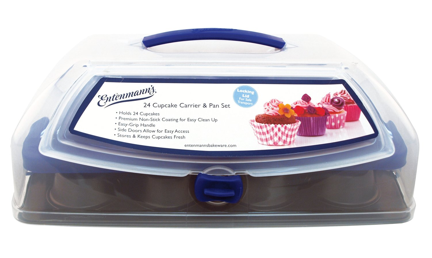 Entemann's ENT29110 24 Count Cupcake Carrier with Pan and Top Load Doors by Entemann's