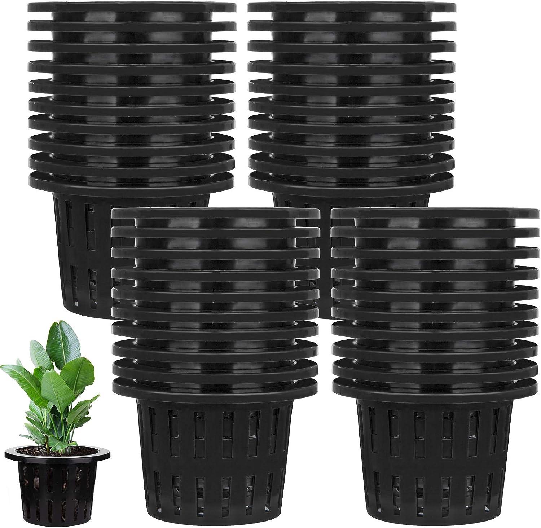 Jucoan 40 Pack 4 Inch Garden Slotted Mesh Net Cups Heavy Duty Plastic Plant Nursery Pots Wide Lip Bucket Basket for Hydroponics and Aquaponics
