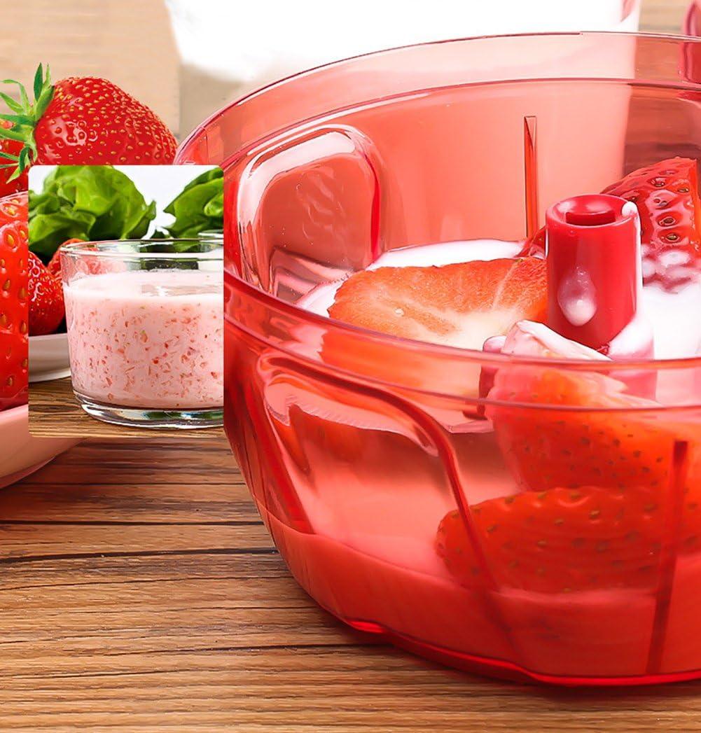Rouge LLQ Manuel Coupe L/égumes Hachoir Legume Outil de Cuisine Multifonctions Fruits Moulins /à L/égumes 480 ML