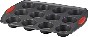 Rachael Ray Yum-o! Nonstick Bakeware 12-Cup Muffin Tin With Grips / Nonstick 12-Cup Cupcake Tin With Grips - 12 Cup, Gray with Red Grips