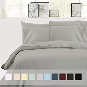 Cotton Duvet Cover King Size - 3 Piece Slate Grey Bedding Set, 100% Pure Cotton Sateen Weave, 400 Thread Count Comforter Cover and Two Pillow Shams, with Button Closure and Corner Ties
