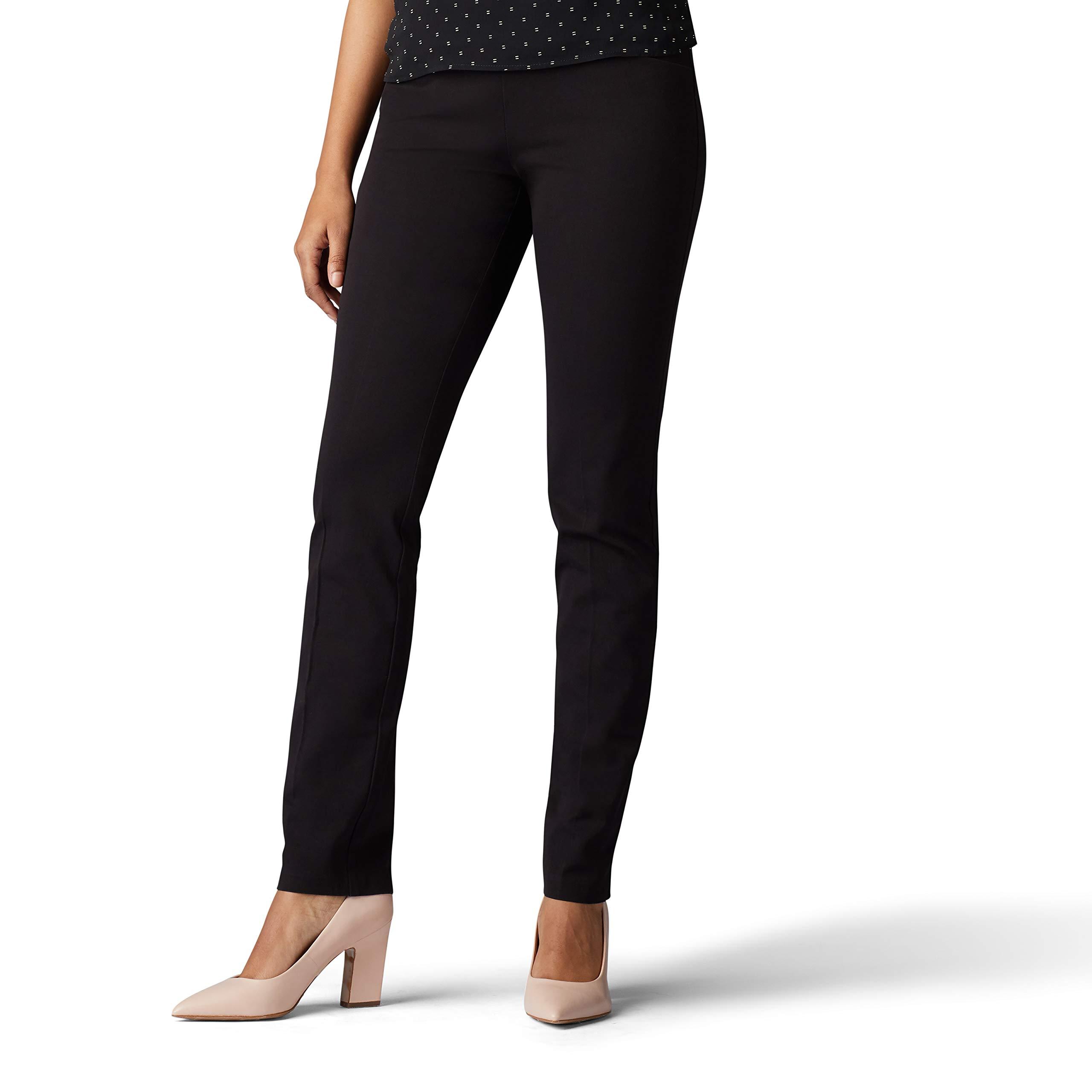 Lee Women's Sculpting Slim FIt Slim Leg Pull-On Pant, black, 14 Long by LEE
