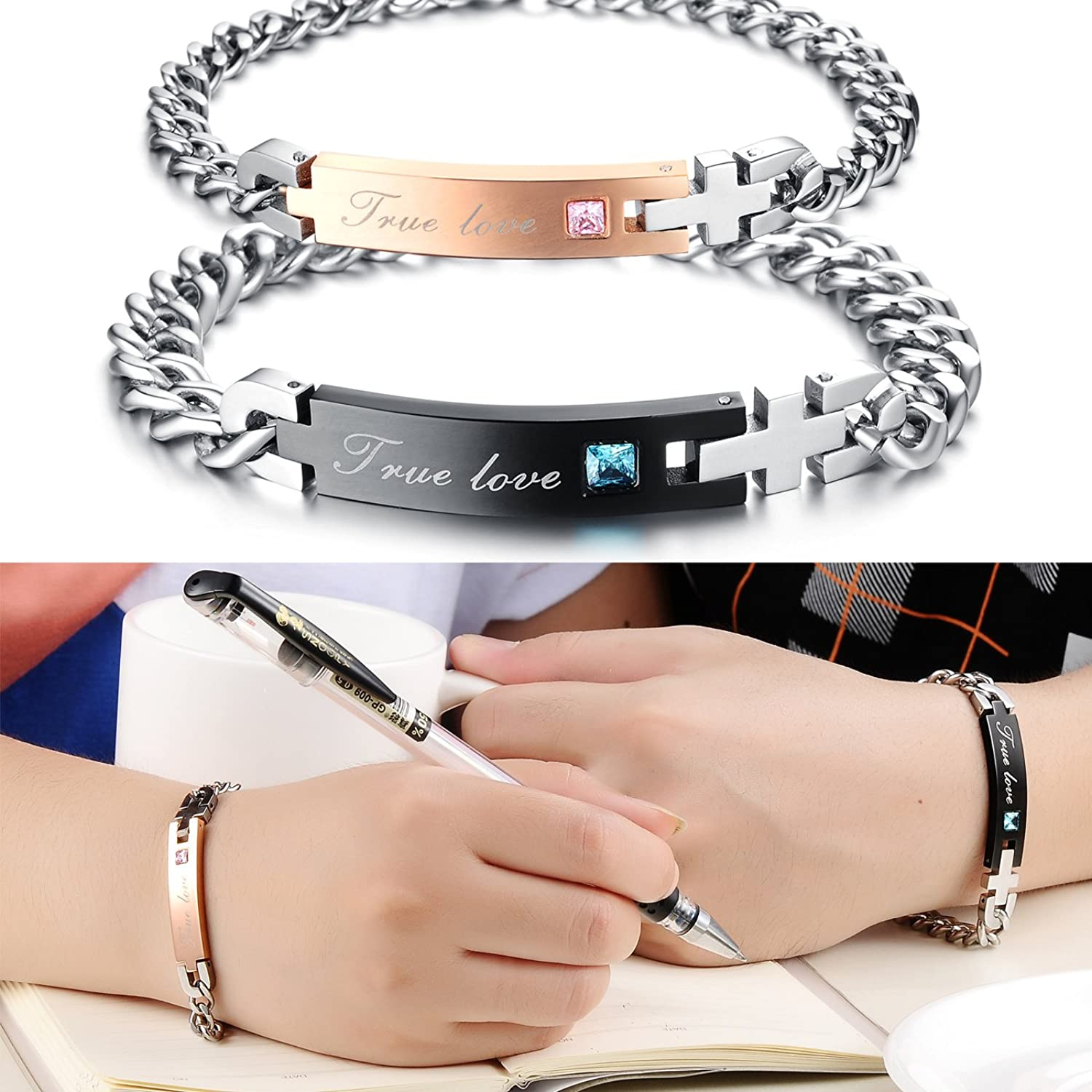 Amazon.com: His or Hers Matching Set Couple Stainless Steel Bangle ...
